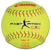 Champro Yellow ASA Fast Pitch Game Softballs EACH