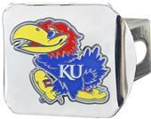 Fan Mats NCAA Kansas Chrome/Color Hitch Cover