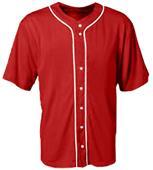A4 Youth Short Sleeve Full Button Baseball Jerseys