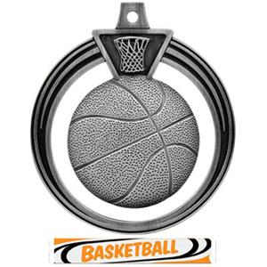 SILVER MEDAL/DELUXE BASKETBALL RIBBON