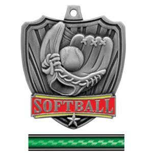 SILVER MEDAL/VICTORY GREEN NECK RIBBON