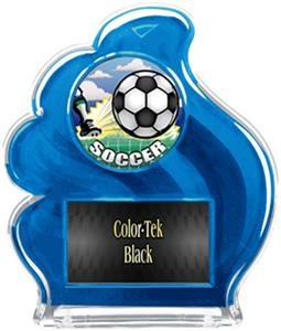BLUE TROPHY - HD SOCCER MYLAR/BLACK PLATE