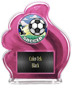 PINK TROPHY - HD SOCCER MYLAR/BLACK PLATE
