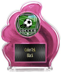 PINK TROPHY - SHIELD SOCCER MYLAR/BLACK PLATE