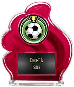 RED TROPHY - ECLIPSE SOCCER MYLAR/BLACK PLATE
