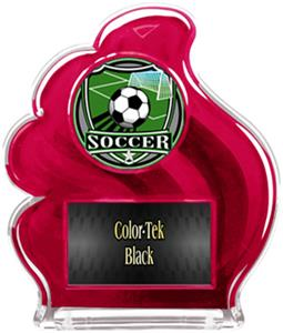 RED TROPHY - SHIELD SOCCER MYLAR/BLACK PLATE