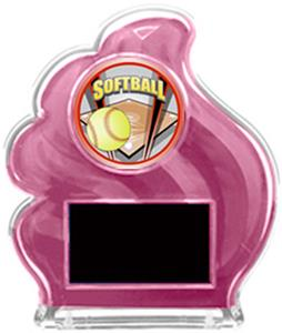PINK TROPHY - PROSPORT SOFTBALL MYLAR/BLACK PLATE