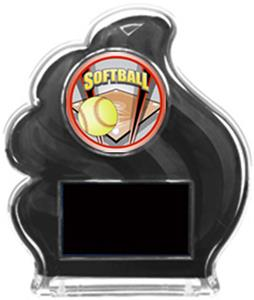 BLACK TROPHY - SHIELD SOFTBALL MYLAR/BLACK PLATE