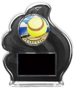 BLACK TROPHY - PROSPORT SOFTBALL MYLAR/BLACK PLATE