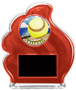 RED TROPHY - HD SOFTBALL MYLAR/BLACK PLATE