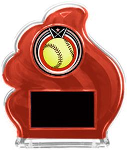 RED TROPHY - ECLIPSE SOFTBALL MYLAR/BLACK PLATE