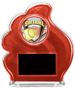 RED TROPHY - PROSPORT SOFTBALL MYLAR/BLACK PLATE