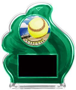 GREEN TROPHY - HD SOFTBALL MYLAR/BLACK PLATE