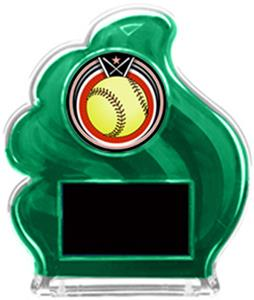 GREEN TROPHY - ECLIPSE SOFTBALL MYLAR/BLACK PLATE