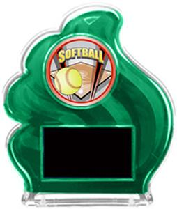 GREEN TROPHY - PROSPORT SOFTBALL MYLAR/BLACK PLATE