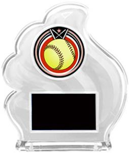 WHITE TROPHY - ECLIPSE SOFTBALL MYLAR/BLACK PLATE