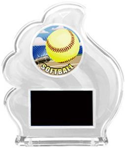 WHITE TROPHY - HD SOFTBALL MYLAR/BLACK PLATE
