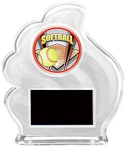 WHITE TROPHY - PROSPORT SOFTBALL MYLAR/BLACK PLATE