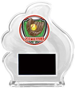 WHITE TROPHY - SHIELD SOFTBALL MYLAR/BLACK PLATE