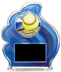 BLUE TROPHY - HD SOFTBALL MYLAR/BLACK PLATE