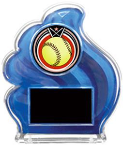 BLUE TROPHY - ECLIPSE SOFTBALL MYLAR/BLACK PLATE