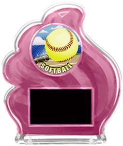 PINK TROPHY - HD SOFTBALL MYLAR/BLACK PLATE