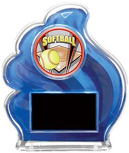 BLUE TROPHY - PROSPORT SOFTBALL MYLAR/BLACK PLATE