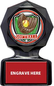 SHIELD SOFTBALL MYLAR/RED METAL PLATE