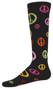 BLACK/MULTI-COLORED PEACE SIGNS