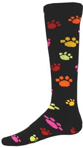 BLACK/MULTI-COLORED PAW PRINT