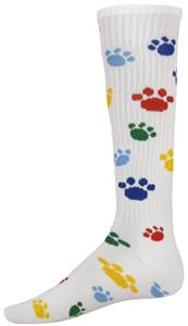 WHITE/MULTI-COLORED PAW PRINT