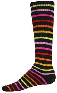 BLACK W/ MULTI-COLORED STRIPES