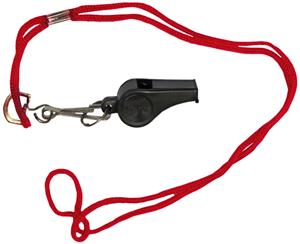 BLACK WHISTLE/RED LANYARD