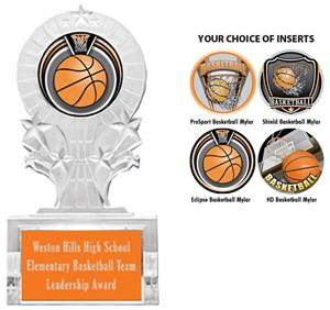 SHIELD BASKETBALL MYLAR/ORANGE PLATE