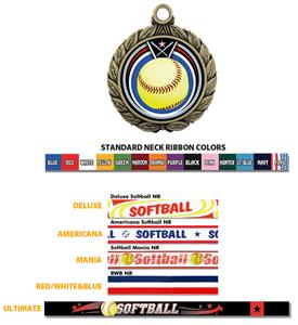 GOLD/AMERICANA SOFTBALL RIBBON