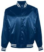 Augusta Satin Baseball Jacket/Striped Trim