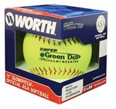 "11"" ASA Super Green Dot Pro Tac Yellow Softballs"