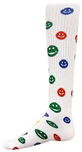 WHITE SOCK W/MULTI-COLORED HAPPY FACES