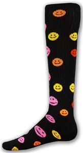 BLACK SOCK W/MULTI-COLORED HAPPY FACES