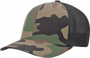 (STAND.) GREEN CAMO CROWN & VISOR/BLACK BACK