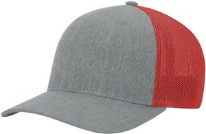 (STAND.) HEATHER GREY CROWN & VISOR/RED BACK