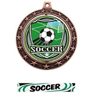 SHIELD INSERT/BRONZE MEDAL-DELUXE SOCCER RIBBON