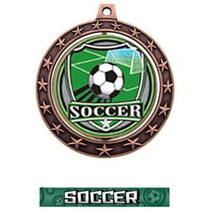 SHIELD INSERT/BRONZE MEDAL-GRAPHX  SOCCER RIBBON
