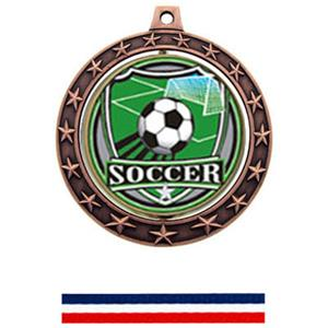 SHIELD INSERT/BRONZE MEDAL-RED WHITE & BLUE RIBBON