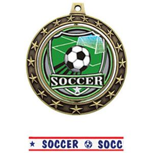 SHIELD INSERT/GOLD MEDAL-AMERICANA SOCCER RIBBON