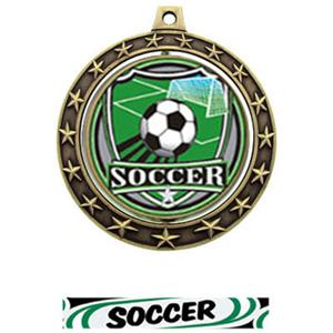 SHIELD INSERT/GOLD MEDAL-DELUXE SOCCER RIBBON