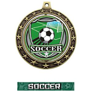 SHIELD INSERT/GOLD MEDAL-GRAPHX  SOCCER RIBBON