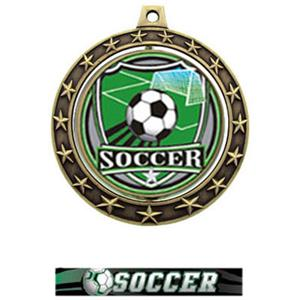 SHIELD INSERT/GOLD MEDAL-ULTIMATE SOCCER RIBBON