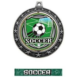 SHIELD INSERT/SILVER MEDAL-GRAPHX  SOCCER RIBBON
