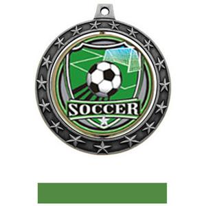 SHIELD INSERT/SILVER MEDAL-GREEN RIBBON